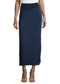 Max Studio Side-Slit Jersey Maxi Skirt, Dark Navy