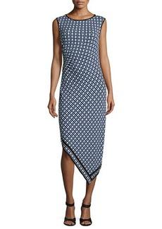 Max Studio Sleeveless Asymmetric Geo-Print Dress