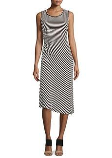 Max Studio Sleeveless Asymmetric Striped Dress