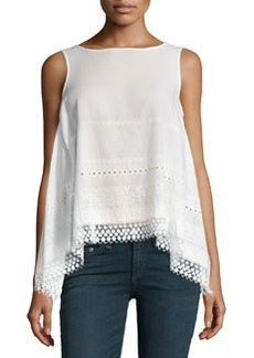 Max Studio Sleeveless Embroidered Top, Off White