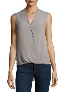 Max Studio Sleeveless Faux-Wrap Habutai Top, Gray