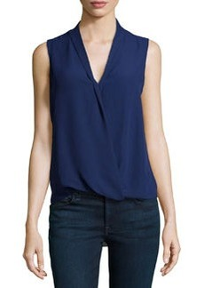 Max Studio Sleeveless Faux-Wrap Habutai Top, Purple-Blue