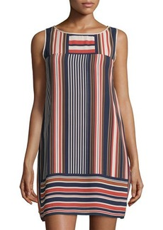 Max Studio Sleeveless Geo-Stripe Shift Dress