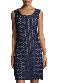Max Studio Sleeveless Lace-Overlay Striped Jersey Dress