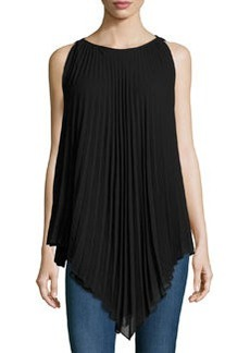 Max Studio Sleeveless Pleated Crepe Blouse, Black