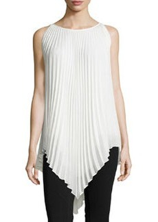 Max Studio Sleeveless Pleated Crepe Blouse, Ivory