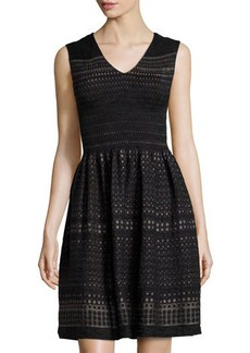 Max Studio Sleeveless Smocked Dot Dress