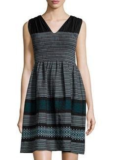 Max Studio Sleeveless Striped Jacquard A-Line Dress