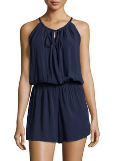 Max Studio Sleeveless Surplice-Front Woven Romper, Navy