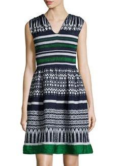 Max Studio Smocked Jacquard Dress, Indigo/Green