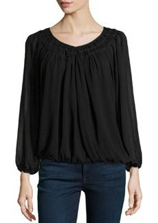 Max Studio Smocked Pleated Crepe Top, Black
