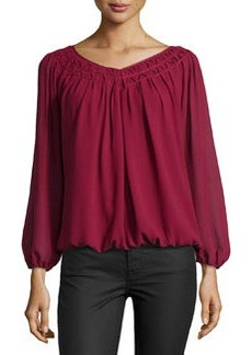 Max Studio Smocked Pleated Crepe Top, Oxblood