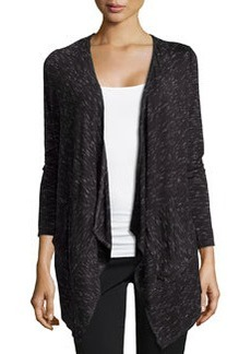 Max Studio Space-Dye Draped Cardigan, Black/Ecru