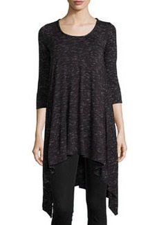 Max Studio Space-Dye High-Low Tunic, Black/Ecru