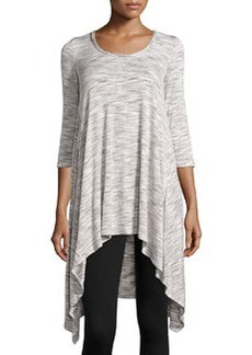 Max Studio Space-Dye High-Low Tunic, Ivory/Steel
