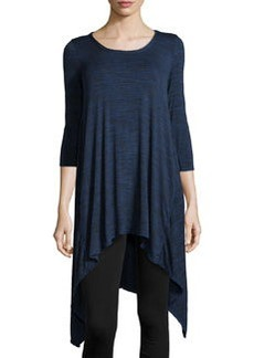 Max Studio Space-Dyed Slub-Knit Handkerchief Tunic, Iris