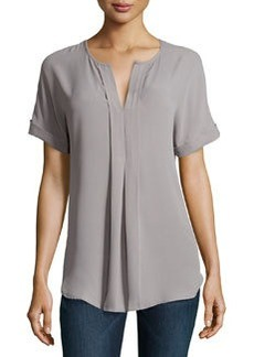 Max Studio Split-Neck Georgette Top, Gray