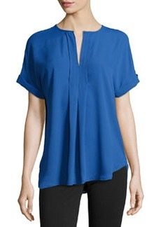 Max Studio Split-Neck Georgette Top, Monaco Blue