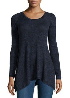 Max Studio Stretch-Knit Long-Sleeve Top, Black/Blue