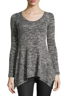 Max Studio Stretch-Knit Long-Sleeve Top, Black/Ivory