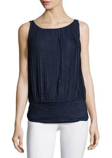 Max Studio Stretch Tiered-Lace Tank, Navy