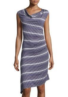 Max Studio Striped Asymmetric-Hem Dress, Indigo/Ivory