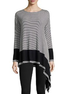 Max Studio Striped Asymmetric-Hem Tunic, Black/Ivory