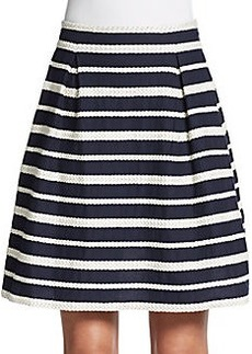 Max Studio Striped Cotton A-Line Skirt