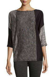 Max Studio Striped Dolman Sweater, Black/Ecru