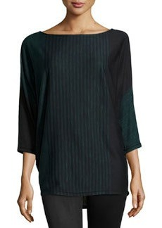 Max Studio Striped Dolman Sweater, Black/Topaz