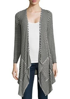 Max Studio Striped Draped Cardigan, Black/Ivory