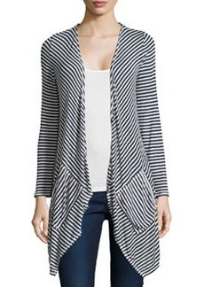 Max Studio Striped Draped Cardigan, Dark Navy/Ivory
