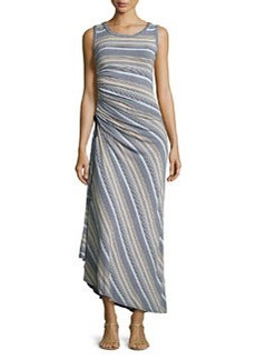 Max Studio Striped Drawstring-Side Maxi Dress, Dark Navy/Heather Hydrangea