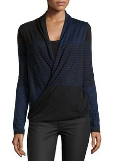 Max Studio Striped Faux-Wrap Knit Sweater, Black/Blue
