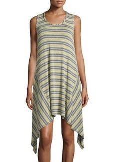 Max Studio Striped Handkerchief-Hem Tank Dress, Steel/Citron