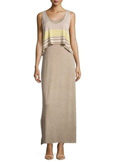 Max Studio Striped-Overlay Sleeveless Maxi Dress
