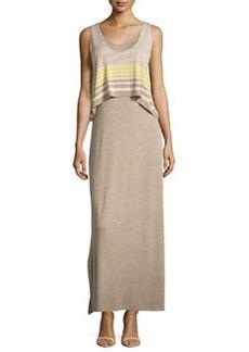 Max Studio Striped-Overlay Sleeveless Maxi Dress, Heather Jute/Heather Citron