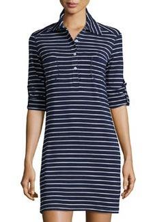 Max Studio Striped Rolled-Sleeve Shirtdress, Dark Navy/Ivory