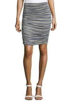 Max Studio Striped Ruched Skirt, Heather Steel
