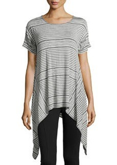Max Studio Striped Sharkbite-Hem Scoop-Neck Tee, Heather Steel/Heather Indigo