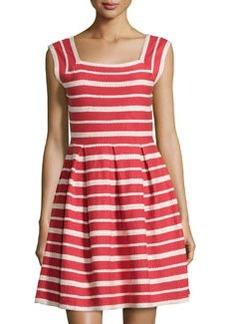 Max Studio Striped Square-Neck Sleeveless Dress, Cranberry