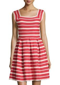 Max Studio Striped Square-Neck Sleeveless Dress