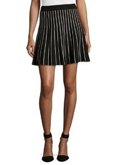 Max Studio Striped Stretch-Knit Circle Skirt, Black/Ivory