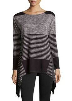 Max Studio Striped Tunic Sweater, Black/Ecru