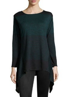Max Studio Striped Tunic Sweater, Black/Topaz