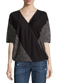 Max Studio Striped Wrap Top, Black/Ecru