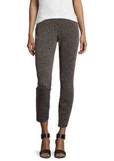 Max Studio Textured Cropped Leggings, Black/Charcoal