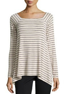 Max Studio Thin Sailor-Stripe Raglan Tunic, Heather Bone/Dark Navy