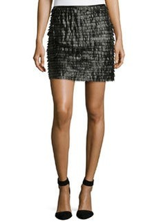 Max Studio Tiered Faux-Leather Skirt, Black