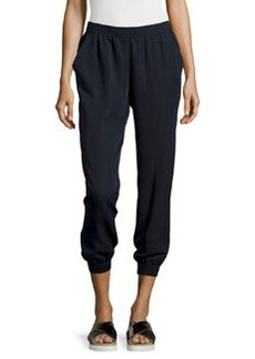 Max Studio Twill Cropped Jogger Pants, Dark Navy